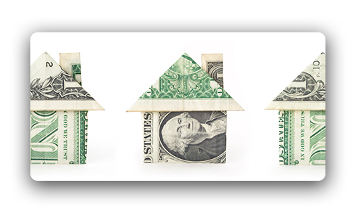 Building Credit and Assets - image depicting three one dollar bills folded into houses