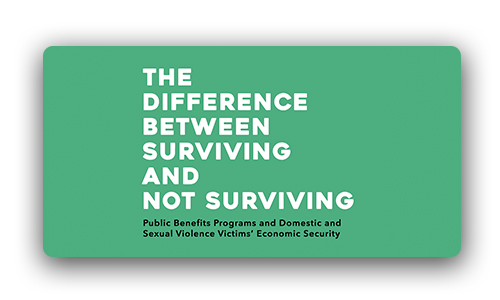 """The Difference Between Surviving and Not Surviving"" - image depicting cover of document with title in white text on green/teal backgound"